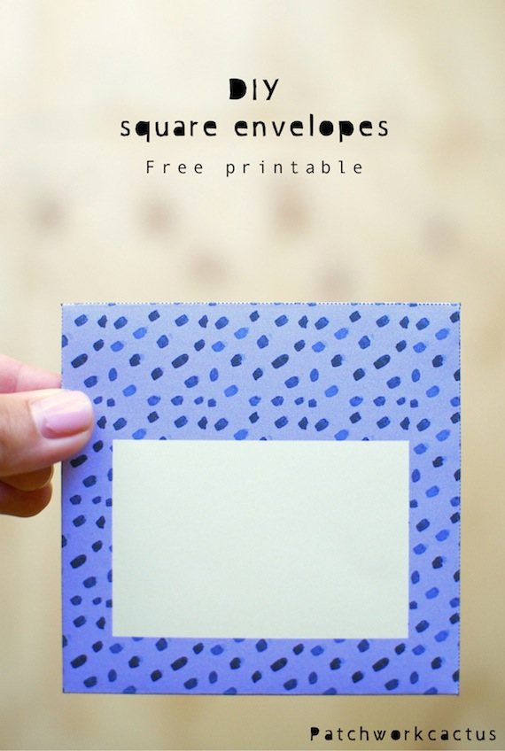Diy Square Envelopes Free Printable Patchwork Cactus